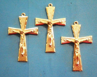 3 Vintage Goldplated 50mm Religous Crucifixes