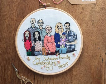 Custom Family Portrait - hand stitched