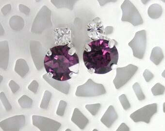Purple crystal earrings,crystal earrings,petite earrings,small earrings,amethyst earrings,Swarovski,Swarovski amethyst,purple wedding,purple
