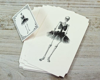 """Note Cards - Skeleton Ballerina - Ballet - Dance - Goth - Italian Paper - Die Cut Cards - W 2.75"""" x H 4.52"""" - Set of 12 Note Cards"""
