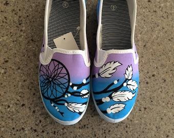 Custom painted dream catcher shoes