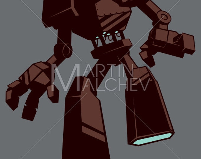 Giant Robot Isolated - Vector Cartoon Illustration. transformer, android, science, fiction, sci-fi, futuristic, machine, silhouette,