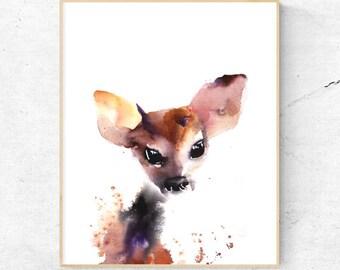 Fawn Watercolour Fine Art Print, Woodland Nursery Art, Baby Animal Print, Woodlands Baby Deer, Printable Digital Download