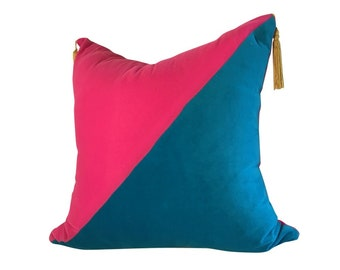 Two-Color Pillow, Pink Velvet Pillow, Blue Velvet Pillow, Pillows With Tassels, Tassels on Pillow, Velvet Sofa
