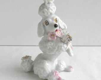 Porcelain Spaghetti Poodle with Pink Flowers from Japan 1950s