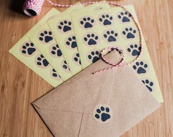 60 x 35mm Handprinted Kraft Paw Stickers