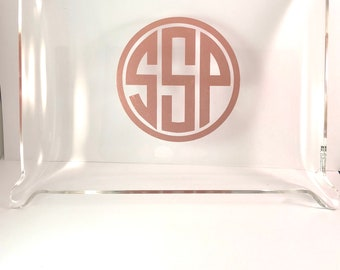 Personalized or monogram large lucite/acrylic tray for snacks, jewelry, keys, vanity items etc