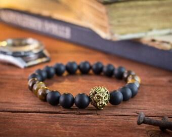 8mm - Matte black onyx & tiger eye beaded stretchy bracelet with gold Tiger, beaded bracelet, womens bracelet, mens bracelet,black bacelet