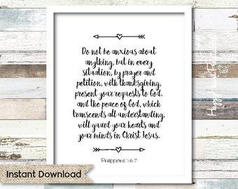 Philippians 4:6-7 - Scripture  Printable 8x10 - Instant Download