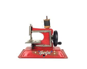 Vintage Sewing Machine Toy Antique Gurlee Small Red Sewing Machine Toy Old Metal Small Sewing Machine Gurlee