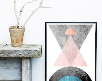 Abstract Print, Textured Art, Scandinavian Print, Mid Century Modern, Art Print,   Abstract Wall Art,  large Print, Abstract Art Print