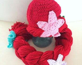 Newborn Mermaid hat, mermaid wig, mermaid hat for babies, baby girl halloween costume, princess hat for babies, newborn halloween costume