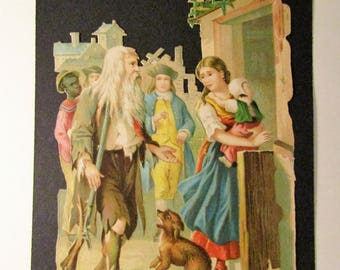 Victorian Lithograph Die Cut Scrap Cut Outs-Rip Van Winkle and Daughter