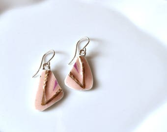 Broken China Earrings - Pink and Gold