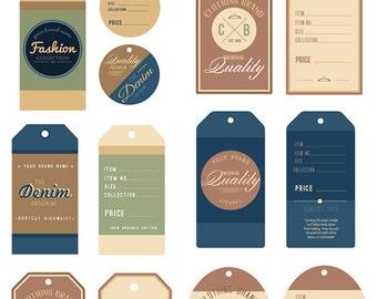 Tag Clipart Set - Apparel Tag Clip Art - Sales Tags Templates -  Editable - Graphic Design Elements - Digital Download