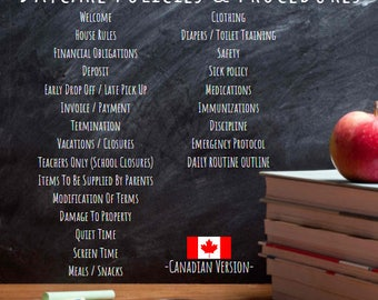 Daycare Policies & Procedures - Canadian Version - Editable Template - Daycare Forms - Childcare Policies Handbook