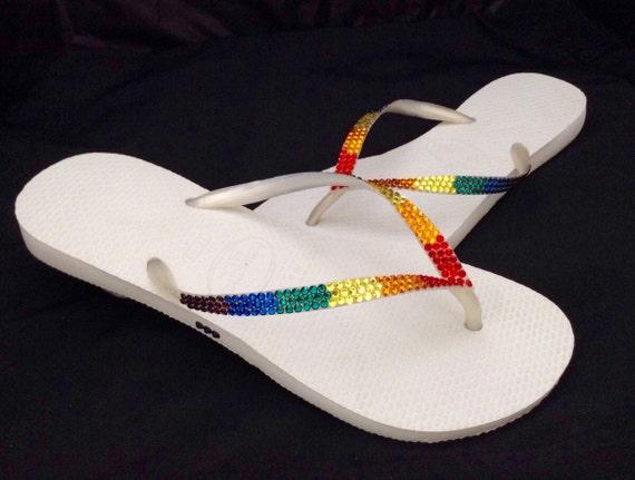 Havaianas Slim w/ Swarovski Crystal Flip Flops Custom GlassSlippers Pride parade Rainbow Bling Rhinestone Multi color LGBTQ Thongs Shoes