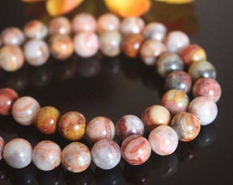 """Red Crazy Lace Agate, Smooth Round Beads, 4mm 6mm 8mm 10mm 12mm Lace Agate Beads supply.15"""" strand"""