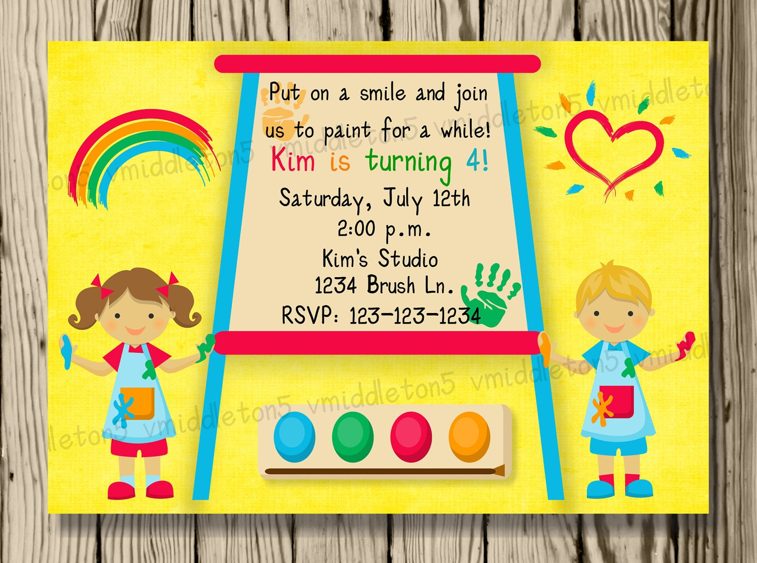Kids painting or art party invitation print your own 5x7 or for Kids paint party