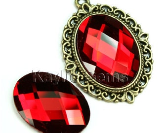 Oval 18x25 Mirror Glass Cabochon Cab Faceted Checker Cut Dome - Ruby- 2pcs