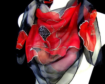Silk Scarf, Hand Painted Silk Scarf, Red Poppies In Gray Square Silk Scarf, Floral Silk Chiffon Scarf CUSTOM ORDER