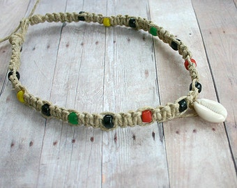 Hemp Rasta Necklace With Cowrie Shell Pendant Glass Beads