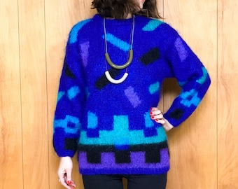 80s Printed Mohair Wool Sweater Abstract Geometric Pullover for Women ~ Small