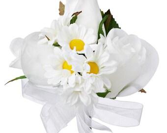 Daisy Rose Silk Corsage - Wedding Corsage Prom