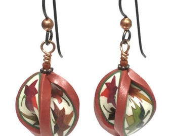 Quilted in Clay! Autumn Leaves Mobius Earrings, Quilt gift, Sewing gift, Fall earrings, Drop Earrings, Maple Leaf Earrings, Gift for Quilter