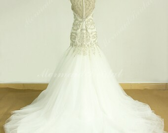 Fit and flare heavy beading  with silver lace embroidery work, formal wedding dress with cathedral train