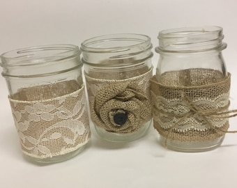 Mason Jar, Mason Jar Wrap, Burlap, Rustic Wedding, Wedding Centerpieces, Rustic Centerpieces, Rustic Wedding Decor, Lace, Wedding Decor