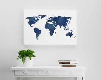 Silver gray distressed rustic world map wanderlust travel watercolor midnight and navy blue world map a watercolorerd distressed rustic world map gumiabroncs Image collections