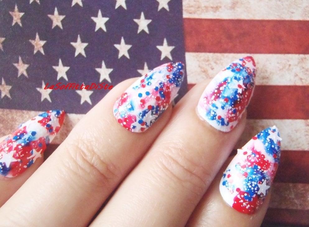 false nails 4th of july stiletto fake nails american flag usa ...