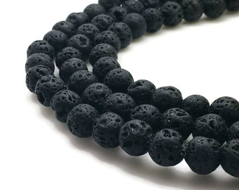 8mm Natural Black Lava Beads 47 Beads 8mm Lava 8mm Black Lava 8mm Black Beads 8mm Volcanic Rock Volcanic