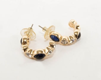 """Vintage gold tone earrings """"Cascio"""" with Swarovsky and blue stones 7131"""