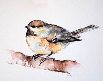 Original Watercolor Bird Painting, Colorful Chickadee Painting 7x10 inch