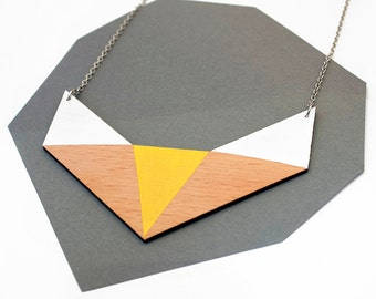 Geometric wooden polygon necklace - white, yellow, natural wood - minimalist, modern jewelry, geometric fox shape