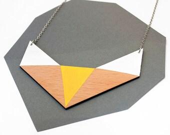 Geometrische Holz Polygon Halskette - weiß, gelb, Naturholz - minimalistischen, modernen Schmuck, geometrische Fuchs Form