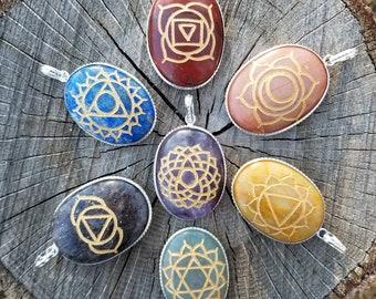 7 Piece Engraved Chakra Pendant Set