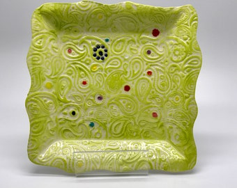Side Plate - Paisley Pattern - Lime Green - Handmade - Polka Dots - Handmade Dinnerware - Ornamental Plate