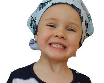 Mia Children's Head Cover, Girl's Cancer Headwear, Chemo Scarf, Alopecia Hat, Head Wrap, Cancer Gift for Hair Loss - Blue Butterflies