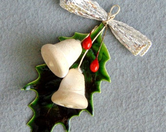 Antique/VTG German Christmas Tree Ornament Spun Cotton Bells With Berries And Waxed Leaf 1930s