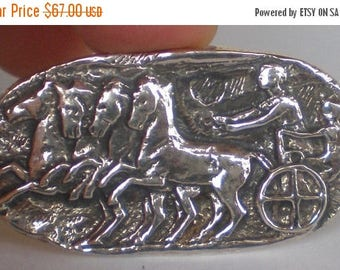 For Sale Charioteer Silver Brooch Pin Fresco Wall Theme