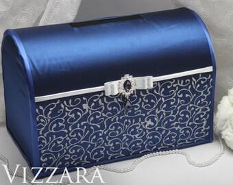 Wedding boxes Navy blue wedding Wedding gift boxes Navy blue and silver wedding Wedding post box Navy and silver wedding
