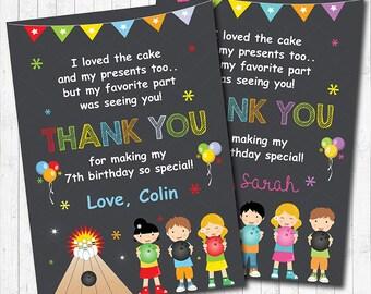 Bowling Thank you Card, Bowling thank you note, Bowling thank you tags, Bowling birthday, Bowling party, Boy, Girl,  printable