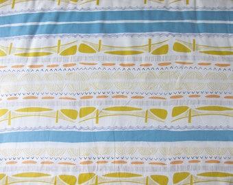 Fabric pattern graphic boy mustard and blue, printed premium cotton * Bridge *.