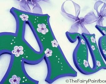 Lavender Blooms Floral Painted Letters, Floral Nursery Letters, Floral Alphabet Letters, Floral Nursery Wall Art, Floral Photo Prop Letters