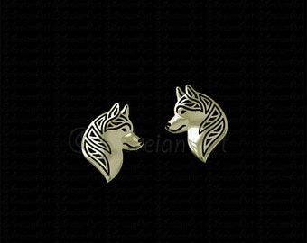 Siberian Husky profile stud earrings - gold.