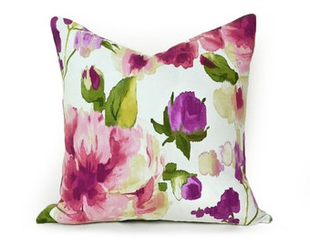 Floral Pillow, Floral Pillow Cover, 18x18, Watercolor, Throw Pillows, Cushion, Summer Pillows, Pink, Purple, Rose, White, Spring Decor