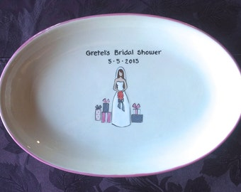 WEDDING GUEST BOOK - Shower Guest Book - Bridal Shower Signature Plate - Gifts for Bride
